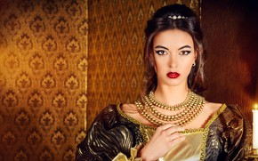 Picture look, decoration, style, retro, background, fire, portrait, candle, makeup, dress, hairstyle, outfit, beads, brown hair, …
