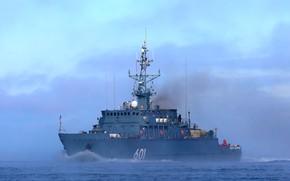 Picture fog, morning, Navy, Baltika, minesweeper, project 12700, Ivan Antonov