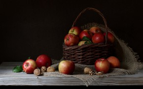 Picture background, apples, nuts, basket