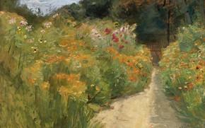 Picture landscape, picture, 1919, Max Liebermann, Max Liebermann, Flower Shrubs in Wannsee Garden