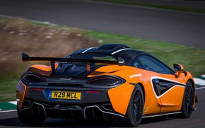 Picture coupe, McLaren, wing, back, track, 2020, V8 twin-turbo, 620R, 620 HP, 3.8 L.