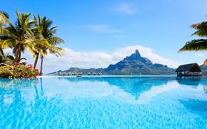 Picture sea, palm trees, mountain, Bora Bora, Bungalow