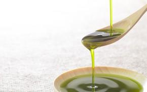 Picture green, liquid, spoon, oil