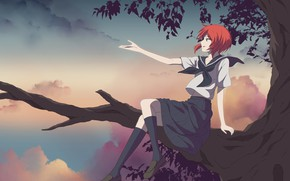 Picture girl, tree, branch, Mahou Tsukai no Yome, Bride of the sorcerer, Chise
