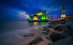 Picture night, lights, mosque, Malaysia, Pulau Melaka