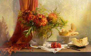 Picture flowers, berries, plate, knife, pitcher, still life, Rowan, slices, shawl, napkin, melon, vase, dahlias, Valentina …