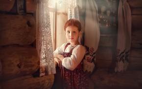 Picture window, girl, curtains, hut, sundress, icon, towel, Pipkin Oksana