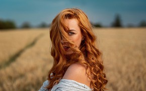 Picture look, girl, nature, face, hair, red, bokeh, Robert Chrenka