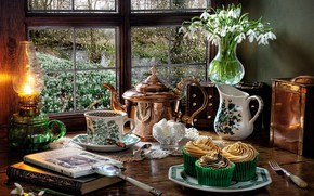 Picture flowers, style, books, lamp, kettle, window, snowdrops, mug, pitcher, still life, magnifier, cupcakes
