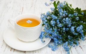 Picture table, tea, bouquet, Cup, Olena Rudo