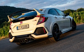 Picture white, Honda, ass, feed, hatchback, the five-door, 2019, Civic Type R, 5th gen, FK8
