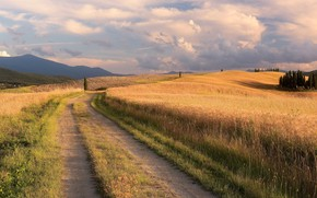 Picture road, field, summer, grass, clouds, trees, mountains, the way, hills, dal, Italy, haze, track, ears, …