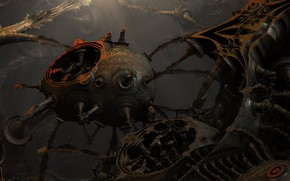 Picture steampunk, blender, engine