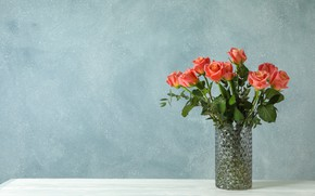 Picture roses, vase, beautiful