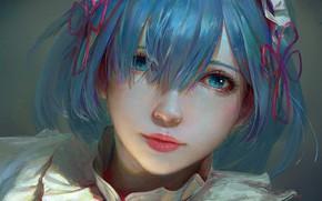 Picture look, girl, face, art, REM, Re Zero Kara Hajime Chip Isek Or Seikatsu, Life In …