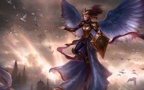 Picture girl, sunset, birds, Magic: The Gathering