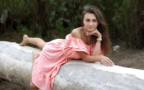 Picture look, nature, pose, model, portrait, makeup, dress, hairstyle, lies, brown hair, beauty, in pink, bokeh, …