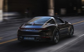 Picture street, 911, Porsche, in motion, ass, Targa, 2020, 992, The 911 Targa 4S, 911 Targa