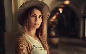 Picture look, lamp, model, portrait, hat, makeup, Mike, hairstyle, brown hair, beauty, jacket, the room, bokeh, …