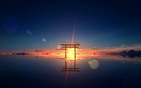 Picture water, the sun, sunset, nature, Torii