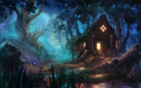 Picture art, house, fantasy, Anna Anikeyka, Enviroment#3, forest