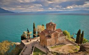 Picture lake, Church, Ohrid, Lake Ohrid, Church of Saint John at Kaneo, Ohrid, Lake Ohrid, The …