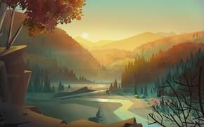 Picture Sunset, Mountains, Figure, Vector, Trees, River, Forest, Dawn, Landscape, Art, River, Art, Landscape, Sun, Sunset, …