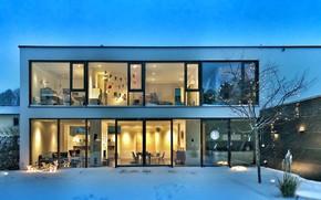 Picture house, design, winter, arhitecture, bauhaus