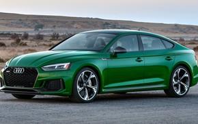 Picture road, machine, Audi, green, drives, side, green, sports car, beautiful car, Sportback, sports sedan, RS …
