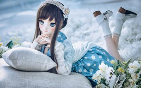 Picture mood, doll, dress, pillow