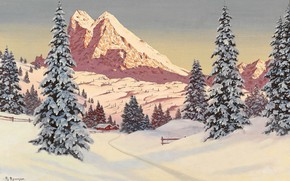 Picture Winter, Mountains, Snow, House, Picture, Alois Arnegger, Alois Arnegger, A winter afternoon in the mountains, …
