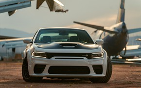 Picture Muscle, Dodge, Front, Charger, White, Dodge Charger, Tuning, Scat Pack, Hemi 392