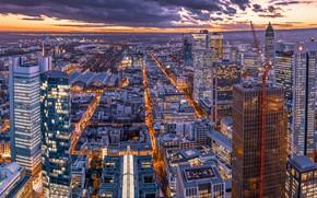 Picture building, home, Germany, panorama, night city, skyscrapers, Germany, Frankfurt am main, Frankfurt am Main