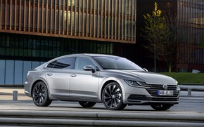 Picture asphalt, street, Volkswagen, 2018, Elegance, liftback, 2017, Arteon, gray-silver
