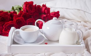 Picture romance, coffee, roses, Breakfast, morning, tray