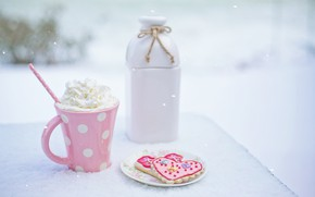Picture winter, snow, pink, cream, drink, heart, pink, winter, snow, cup, drink, cookies, cookies, outdoor