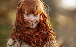 Picture smile, the wind, girl, freckles, Hizhnyakova Alexander