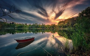 Wallpaper forest, sunset, lake, reflection, boat, Swan