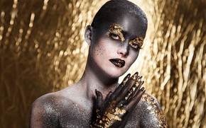 Picture girl, background, gold, Shine, makeup, Beautiful, makeup, artistic, Sergejs Rahunoks