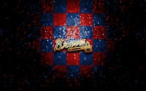 Picture wallpaper, sport, logo, baseball, glitter, checkered, MLB, Atlanta Braves