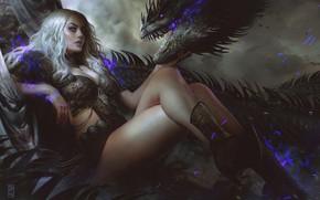 Picture look, girl, pose, magic, dragon, fantasy, art
