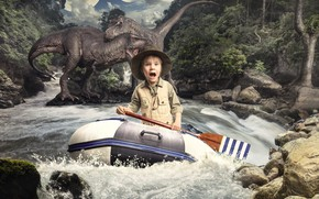 Picture river, fright, boy, dinosaurs, horror, paddle, резиновая лодка, Михаил Новиков