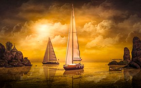 Picture the sky, the sun, clouds, light, landscape, sunset, birds, nature, reflection, rendering, rocks, shore, boat, …