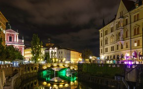 Picture night, bridge, lights, home, Slovenia, Ljubljana