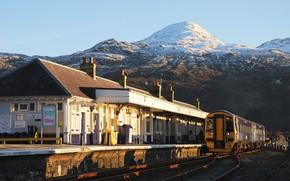 Picture landscape, nature, winter, mountain, snow, station, train, Scotland, Great Britain, United Kingdom, building, train station, …
