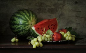 Picture berries, watermelon, still life