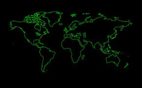 Picture green, the world, black background, world map