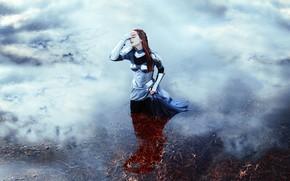 Picture girl, style, reflection, armor, fantasy, image, warrior, pond, photoart, Kindra Nikole