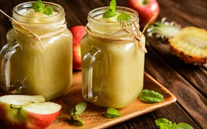 Picture leaves, apples, mugs, fruit, pineapple, bokeh, smoothies