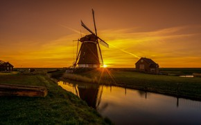 Picture the sky, sunset, mill